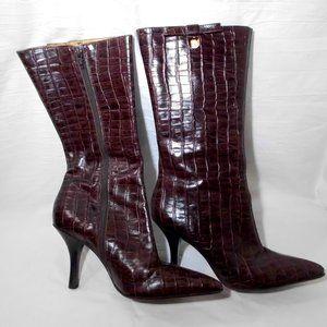 "dark brown Croc- embossed boots 7"" 1/2 Medium"